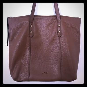 Women's Fossil Tote Bag - Brown Leather